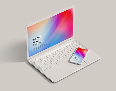 Phone & Laptop Clay Mockup