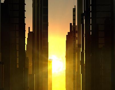 Sunset Between the Skyscraper Buildings Downtown