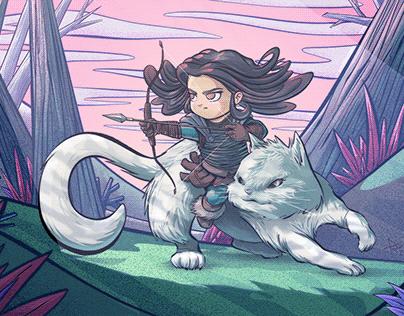 Niña y su gato, pasan el rato
