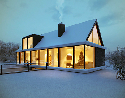 CG Render for a Winter House in England