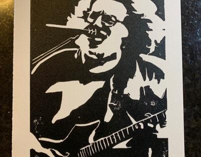 Jerry Garcia Block Print