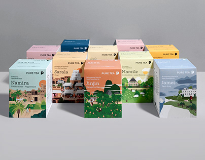 PURE TEA PACKAGING ILLUSTRATIONS