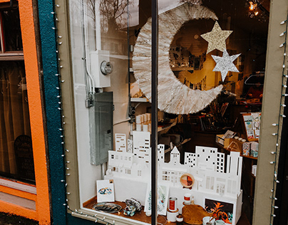 Portland Starry Night Window Display at Tilde Shop
