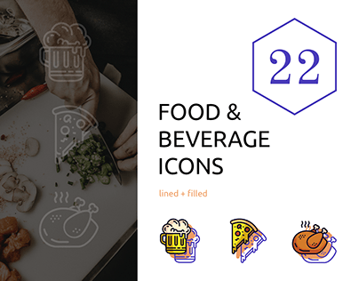 Food & Beverage Icons - Lined + Filled