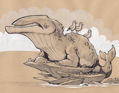 Whalamanders - creature design concepts