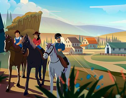 Horse farm illustration