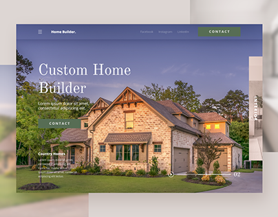Home Builder Landing Page On Behance