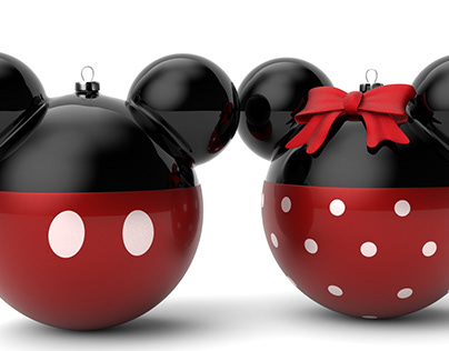 3D Models Mickey and Minnie Mouse Christmas Balls