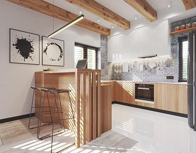 Scandinavian kitchen with chalkboard paint