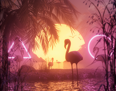 Flamingos - Free print poster