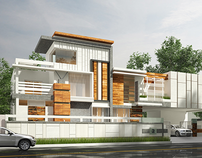 Photo Realistic Exterior Rendering of a Villa, India
