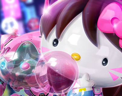 Hello Kitty D.Va fan art