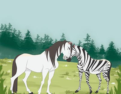 A Zebra Faísca e o Potrinho Flash (realização da arte)