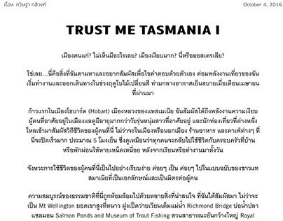 Published Article: TRUST ME TASMANIA I