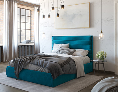 Blue bed for catalog