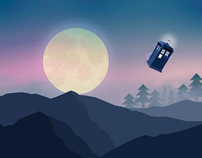 Tardis under the moonlight