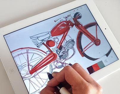 Digital Sketching motorbikes