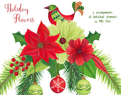 Holiday Flowers Graphic Set