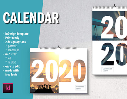 Wall CALENDAR InDesign Template 2020