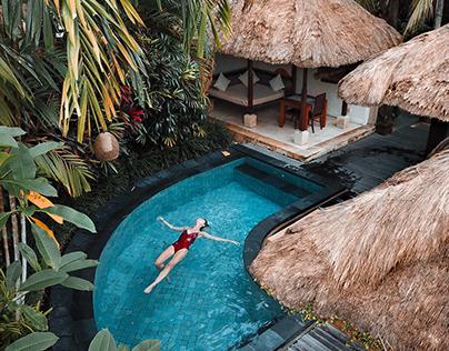 Woman Soaking on the Swimming Pool