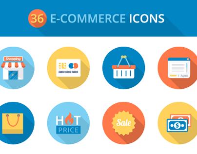 Freebie: Flat E-commerce Icons Set (PSD, PNG, AI & EPS)
