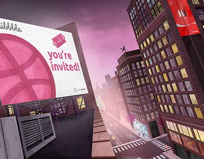 "Dribbble ""You're Invited!"" Billboard Illustration"