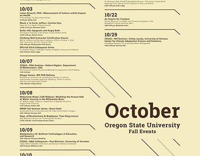 OSU Fall Event Schedule Poster