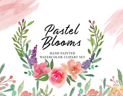 Pastel Blooms Watercolor Clipart Set
