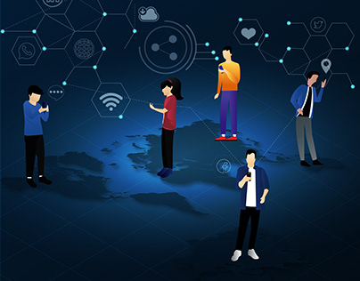 Social Networking. Online World Concept Illustration