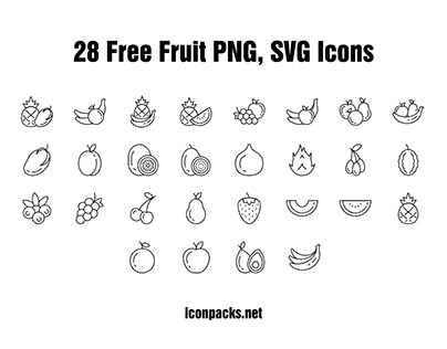 28 Free Fruits SVG, PNG icons