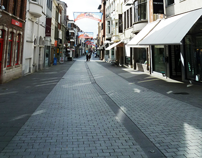 Commercial streets in the historic centre, Kortrijk