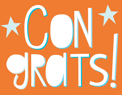 """""""Congrats"""" Hand Lettered card/print"""