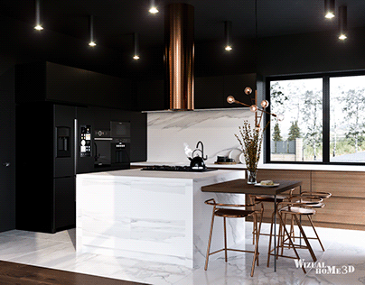 Visualizations of the design of the kitchen and dining