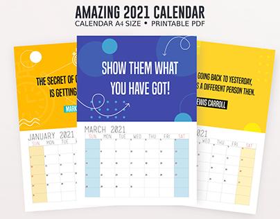 Positive Printable Calendar 2021 A4