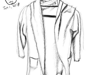 A shortened sketch of a long coat