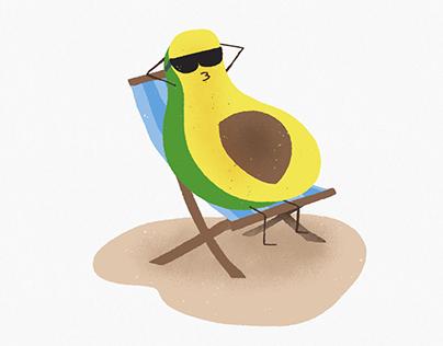 Avocado at the beach