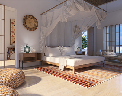 Dormitorio de casa de verano