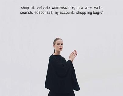 Shop at Velvet website