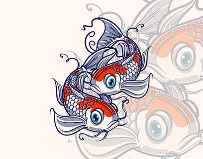 Kohaku Koi Fish Digital Illustration
