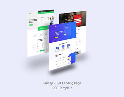 Lancap - CPA Landing Page PSD Template
