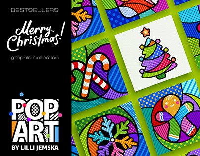 """""""MERRY CHRISTMAS!"""" Pop Art graphic collection +"""