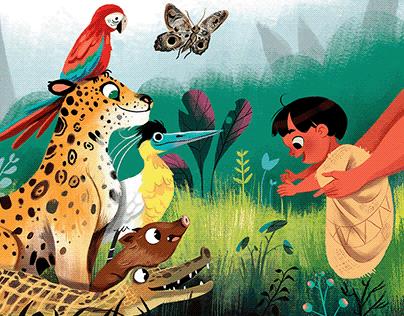 Caipora e os animais da floresta