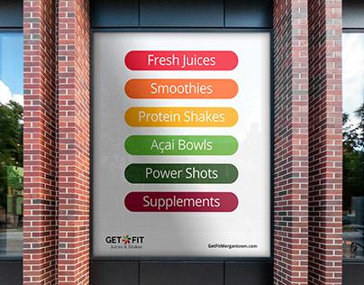 Get Fit Juices & Shakes – Logo, Identity Program, Print