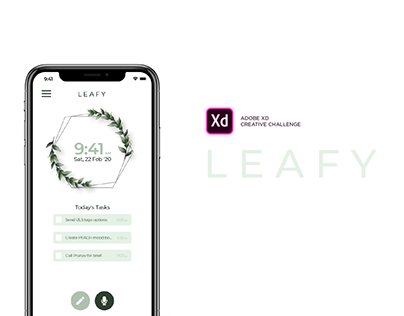 LEAFY : Ui Ux for a voice command task managing app.