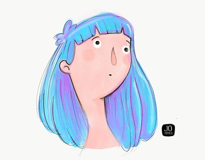 Blue hair girl . Ipad Pro & adobe Sketch