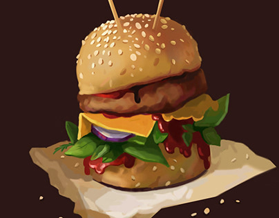 "Digital illustration of ""monster Burger"""