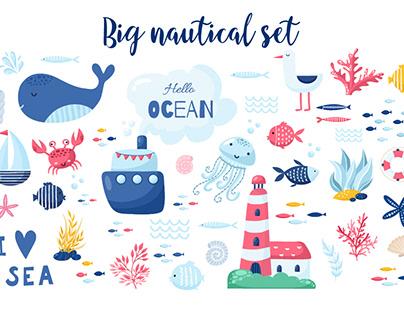Big Marine set of vector illustration