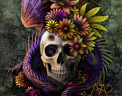 Dragon and flowery skull