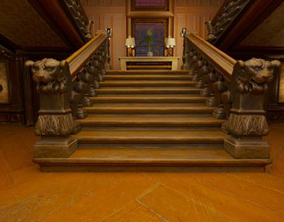 classical stairs interior shot - CGI