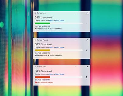Windows 10 File Transfer UI Redesign (Fluent Design)